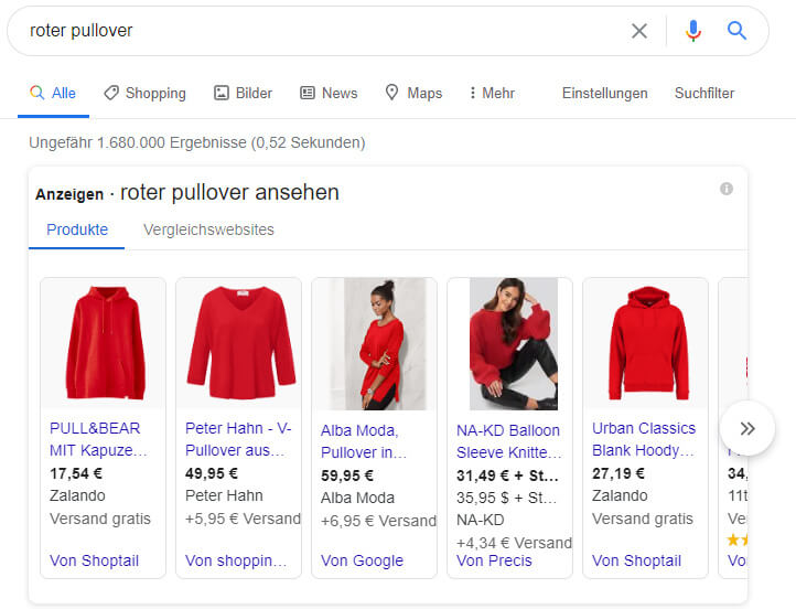 google shopping ads beispiel